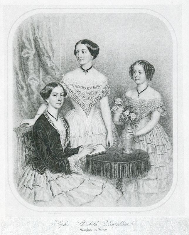 Die Töchter von Wilhelm von Baden (v.l.n.r.): Sophie, Elisabeth, Leopoldine.